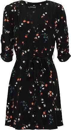 Nicholas Nicholas Woman Ruched Floral-print Silk Mini Dress Black Size 4
