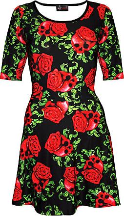 Insanity Enchanting Red Skull Roses Gothic Short Sleeve Skater Dress (M/L)
