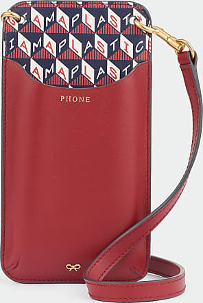 Anya Hindmarch I Am A Plastic Bag Phone Pouch on Strap Recycled Coated Canvas in Marine