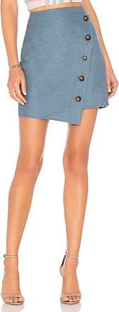 J.O.A. Angle Buttoned Mini Skirt in Slate