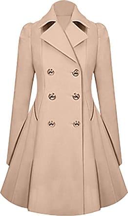 NPRADLA Womens Winter Warm Ladies Lapel Stylish Long Parka Coat Trench Outwear Jacket Khaki