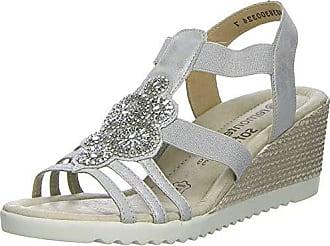 Remonte Damen Sandalen Pantoletten Sommerschuhe D3461-90 Silber Grau Neu