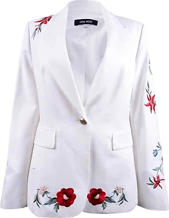Nine West Womens White One Button Embroidery Jacket Size: 14