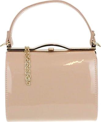 Girly HandBags Girly HandBags Glossy Patent Faux Leather Clutch Bag Handle Closure Evening Handbag - Nude
