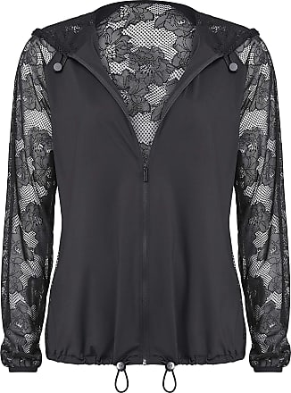 Wolford Frankie Cardigan Jacket with Hood and Lace on Back and Sleeves Black - Black - Medium