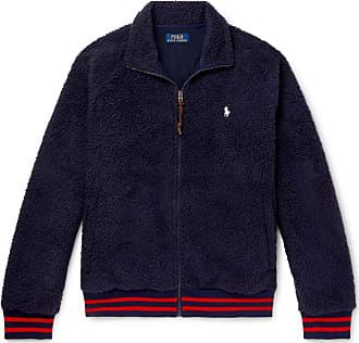 Polo Ralph Lauren Stripe-trimmed Fleece Jacket - Navy