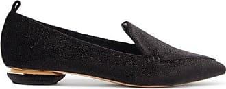 Nicholas Kirkwood Beya Point-toe Glittered-velvet Loafers - Womens - Black