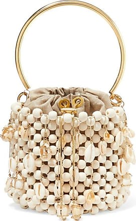 Rosantica Vega Embellished Beaded Bucket Bag - White