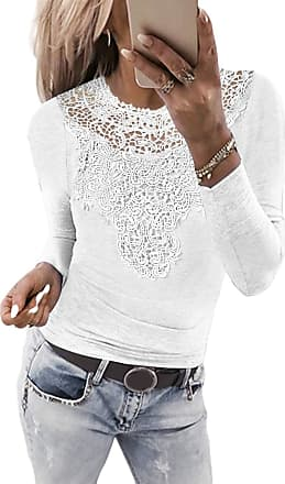 Yoins Women Lace Tops Sexy Cut Out Shirts Long Sleeve Round Neck Blouses Casual Plain Tunic C-White XL