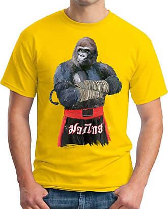 OM3 Muay-Thai-Gorilla - T-Shirt Thailand Monkey Fight APE Boxing Club Motivation Swag Emo, 4XL, Yellow