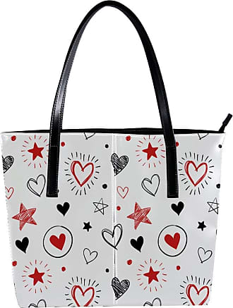 Nananma Womens Bag Shoulder Tote handbag with Doodle Hearts And Stars Print Zipper Purse PU Leather Top-handle Zip Bags
