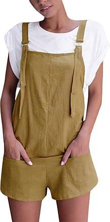 JERFER Women Fashion Elastic Waist Dungarees Linen Cotton Pockets Playsuit Jumpsuit Romper