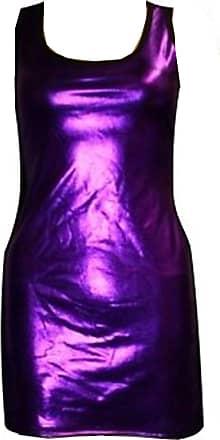 Insanity Metallic Wet Look Shiny Long Vest Top (Medium/Large) Purple
