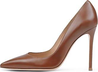 EDEFS Women Sexy Pumps PU Leather Closed Toe High Heel Shoes Brown Size EU38