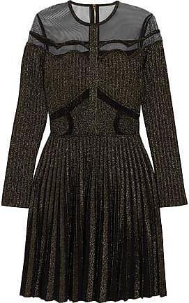 6e6adb78ed1 Elie Saab Elie Saab Woman Tulle-paneled Metallic Ribbed-knit Mini Dress  Black Size