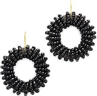 Tinna Jewelry Brinco Dourado Roda Bordada Pequena (Preto)