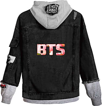 EmilyLe Ladies Love Yourself Hoodie Kpop BTS Map of The Soul Persona Jeans Outerwear Jin Suga J-Hope RM Jimin V Jung Kook (L, C Grey Flower)
