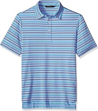 Bugatchi Mens Traditional Four Button Performance Polo Shirt, Sky, M