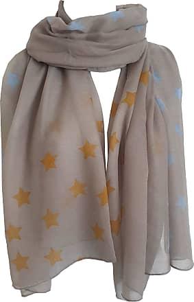 GlamLondon Star Print Scarf Large Size Fashionable Printed Stars Women Wrap (YR20 - Grey)
