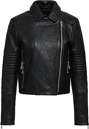 J Brand J Brand Woman Textured-leather Biker Jacket Black Size XS