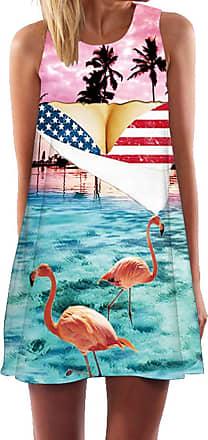 Ocean Plus Womens Sleeveless Vintage Boho Beach Dress Sundress Tank Tops Beach Dress Round Neck Short A Line Shirt Dress Blouse Dress (XXL (UK 14-16), Flamingo F