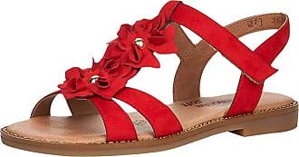 Remonte Women Sandals, Ladies Strappy Sandals,Summer Shoes,Summer Sandal,Comfortable,Flat,Rosso / 33,41 EU / 7.5 UK