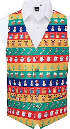 Dobell Mens Multicoloured Festive Wrapping Paper Christmas Waistcoat-5XL (62-64in)
