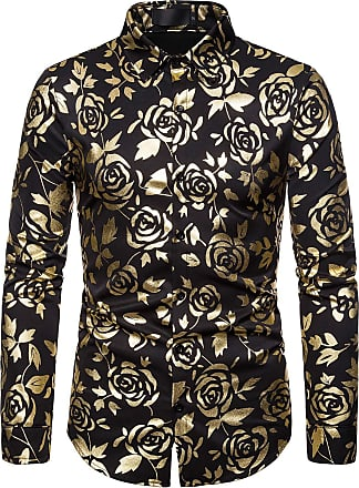 Whatlees Mens Long Sleeve Baroque Golden Flower Design Printing Casual Dress Shirts Button Down 02010188XBlack+XL