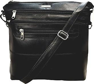 Quenchy London Ladies Cross Body Handbag, Single Strapped Designer Shoulder Bag with 7 Pockets in Soft Leather, Plain Black H25cm xW26cm xD8cm QL922K