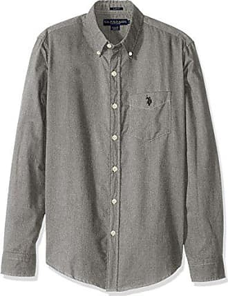 dc15b84bfef587 U.S.Polo Association Mens Slim Fit Brushed Twill Button Down Collar Solid  Woven Shirt