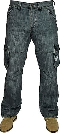 Enzo Jeans Mens Jeans New EZ08 Cargo Combat in Black-Coated Colour Jeans Sizes 28-48 (46 Short, Mid Stone Wash)