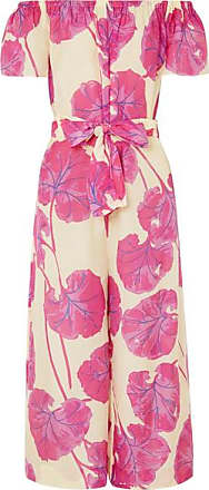 9236bdac606c Diane Von Fürstenberg Helena Belted Printed Cotton And Silk-blend Jumpsuit  - Pink