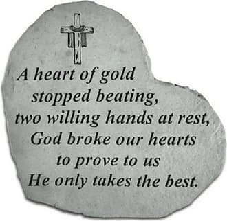 Kay Berry A Heart Of Gold Stopped Beating Heart Shaped Memorial Stone - Crucifix Engraving - 8504