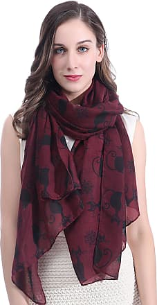 Lina & Lily Cat Kitten Print Womens Large Scarf Lightweight (Dark Red)