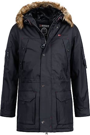 Geographical Norway Abiosaure Mens Parka Coat with Fur Hood - Blue - Medium