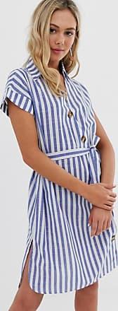 Qed London Blau gestreiftes Hemdkleid