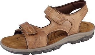 Roamers Roamer Mens Tan Waxy Leather Twin Touch Fastening Sandals - Tan, Mens UK 11 / EU 45