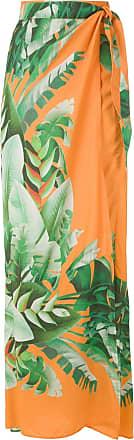 Amir Slama printed wrap maxi skirt - ORANGE
