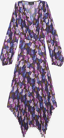 The Kooples Long pleated dress with violet print - WOMEN