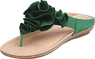 687a08c778 FNKDOR Frauen Sommer Flipflop Flache Schuhe Damen Zehentrenner Blumen  Sandalen (37, Grün)