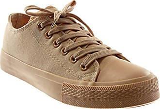11cf8d91d613b1 Angkorly Damen Schuhe Sneaker - Tennis - Pastell Flache Ferse 1.5 cm - Nude  PQ-