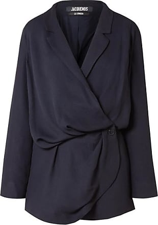 Jacquemus Sisco Double-breasted Woven Mini Wrap Dress - Midnight blue