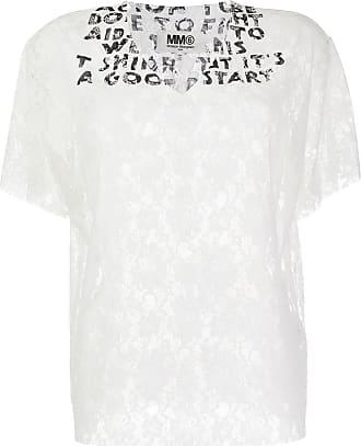 Maison Margiela Camiseta AIDS gola V com renda - Branco