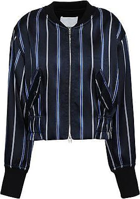 3.1 Phillip Lim 3.1 Phillip Lim Woman Striped Satin-twill Bomber Jacket Navy Size 10