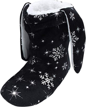 Yvelands Slipper Boots Women, Casual Round Neck Cute Winter Snowflake Print Slip On Short Boots Home Cotton Slipper Soft Ladies Bedroom Slippers Shoes Black