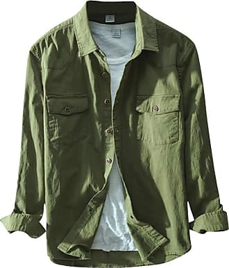 Yonglan Mens Cotton Shirts Long Sleeved Formal Work Slim Fit Casual Shirt Army Green XXL