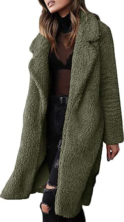 TOMWELL Womens Jacket Coat Long Sleeve Faux Fur Fluffy Fleece Notch Collar Warm-up Outerwear Cardigan Green UK 14