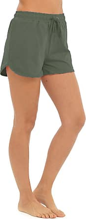 Tom Franks Womens Ladies Solid Colour Elasticated Cotton Blend Summer Beach Shortie Shorts - Khaki - 20-22