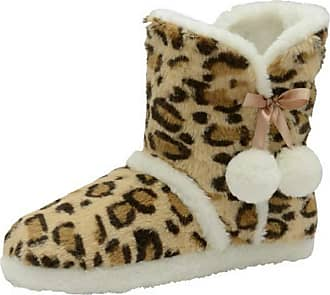 Dunlop Brianna Womens Nordic Boot Slippers (7/8 UK, Natural Leopard)