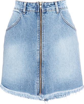 Cantão Saia Jeans Mini Zíper - Azul